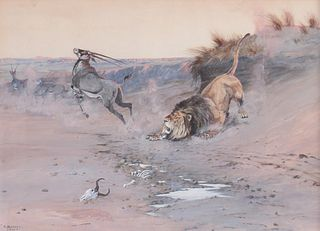 Olaf C. Seltzer (1877–1957): Lion Attacking Gazelle (1904)