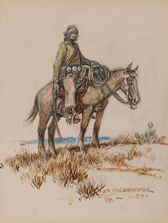 Nick Eggenhofer (1897–1985): Navajo Rider on Horseback (1984)