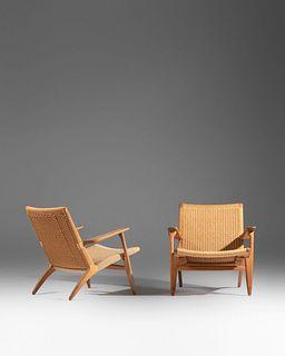 Hans J. Wegner (Danish, 1914-2007) A Pair of CH-25 Lounge Chairs,Carl Hansen & Son, Denmark