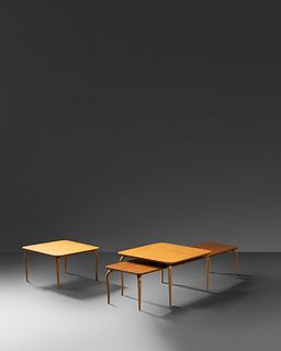 Bruno Mathsson (Swedish, 1907-1988) Long Table together with Two Square Tables, c. 1965,Firma Karl Mathsson, Sweden