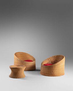 Eero Aarnio (Finnish, b. 1932) Pair of Lounge Chairs and Ottoman,Asko, Finland