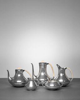 Paul Bang(Danish, 20th Century)Coffee and Tea ServiceComprising Coffee Pot,Tea Pot, Pitcher, Creamer andSugar