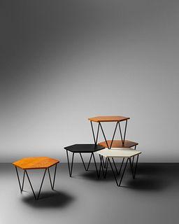 Gio Ponti (Italian, 1891-1979) Set of Five Low Tables,ISA Bergamo, Italy
