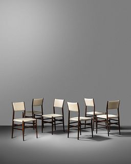 Gio Ponti (Italian, 1891-1979) Set of Six Leggera Chairs,Cassina, Italy
