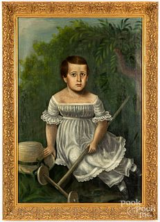 English oil on canvas portrait of a boy