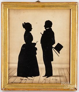 Watercolor silhouette of Martha & Zachary Childs