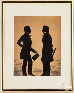 Watercolor silhouette of two gentlemen