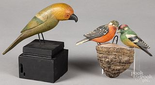 Carved and painted parrot, ca. 1900