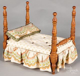 Tiger maple doll bed, ca. 1900