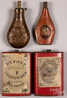 Two Dupont powder tins and powder flask