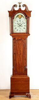 Scottish mahogany tall case clock, early 19th c.