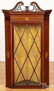 George III inlaid mahogany hanging corner cupboar