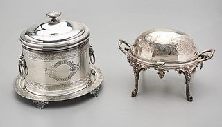 English Silver Plate Biscuit Barrel and Butter Dish