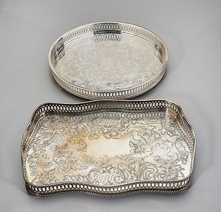 Two English Sheffield Silver Plate Waiter Trays