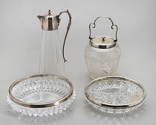 Group of Five Silver and Glass Items