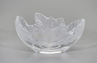Lalique Glass Leaf Dish