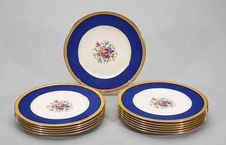 Set of 12 Lenox Cobalt Blue and Gold Dinner Plates