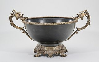 Elaborate European-Style Porcelain and Gilt Metal Footed Bowl