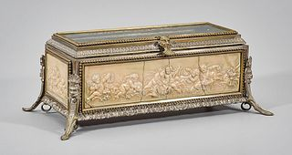 Vintage Glass Top and Gilt Metal Jewelry Box