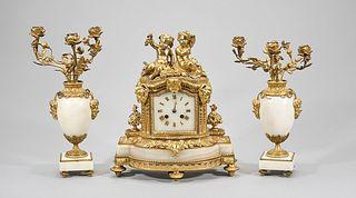 Gilt Bronze and Alabaster Mantle Clock with Candelabra
