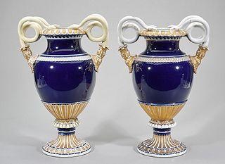 Pair of Meissen Cobalt Urns with Snake Handles