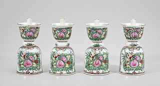 Group of Four Chinese Enameled Porcelain Candlesticks
