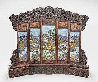 Massive Chinese Cloisonne and Wood Screen