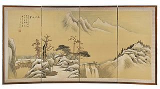 Chinese Four Panel Silk Screen