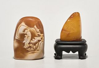 Two Small Chinese Carved Shoushan Stone Mountains
