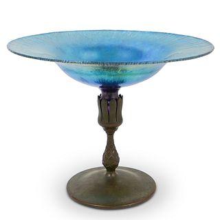Tiffany Studios Bronze & Favrile Glass Compote