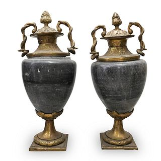Pair Of Marble and Gilt Bronze Castelletes