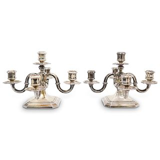 Pair Of 5 Light 800 Silver Candelabras