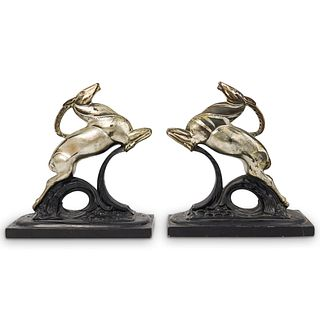 Art Deco Leaping Ibex Bookends