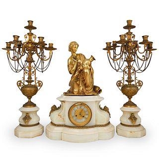 F Gautier & J Albinet Dore Bronze Clock Garniture Set