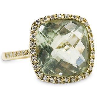14k Gold Prasiolite and Diamond Ring