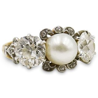 18k Gold, Natural Pearl and Diamond Ring