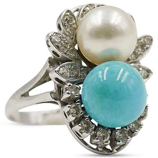 18k Gold, Pearl and Turquoise Ring
