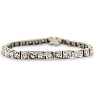 Art Deco Platinum and Diamond Tennis Bracelet