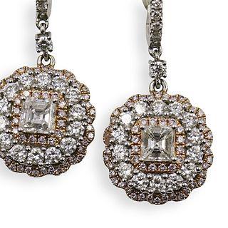 Italian 18k Gold and Diamond Drop Earrings