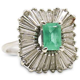 Platinum, Emerald and Diamond Ballerina Ring