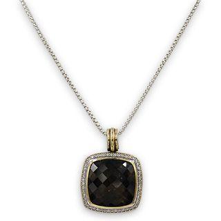 David Yurman Topaz, 18k Gold and Sterling Pendant Necklace