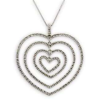 18k Gold and Diamond Heart Pendant Necklace