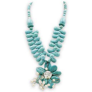 Turquoise & Pearl Flower Necklace