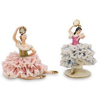 (2 Pc) Dresden Porcelain Figurines