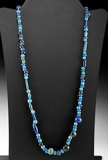 Strand of Roman Glass Beads - Blue Hues