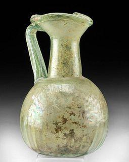 Roman Glass Oinochoe w/ Fine Ribs