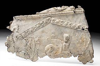 Roman Lead Sarcophagus Panel with Sphinx