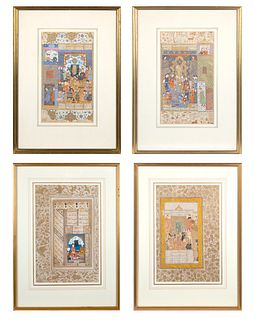 A SET OF FOUR MUGHAL ILLUMINATED MANUSCRIPT FOLIOS SHOWING COURT SCENES BY HAIDAR KASHMIRI, CIRCA 1600