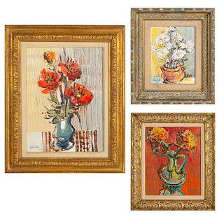 A GROUP OF THREE FLOWER STILL LIVES BY LIUBOSLAV HUTSALIUK (UKRAINIAN 1923-2003)