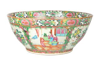 A FAMILLE ROSE MEDALLION PUNCH BOWL, CANTON, MID-19TH CENTURY